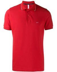 Sun 68 Red Cotton Polo Shirt for men