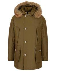 Woolrich Green Cotton Coat for men