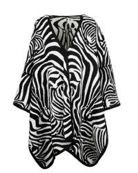 P.A.R.O.S.H. Black Multicolor Wool Poncho