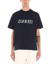 Sunnei Blue Marker Logo T-shirt for men
