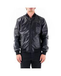 Trussardi Black Leather Outerwear Jacket for men