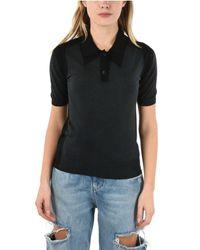 Maison Margiela Black Wool Polo Shirt