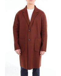Hevò Brown Wool Outerwear Jacket for men