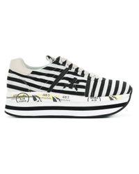 Premiata White Cotton Sneakers