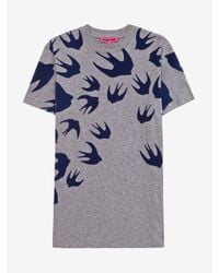 "McQ | Gray ""swallow Swarm"" T-shirt for Men 