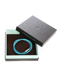 Tateossian | Blue Leather Double Bracelet Menlook 5-year Exclusive for Men | Lyst