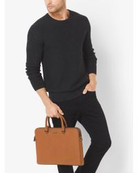 Michael Kors - Brown Harrison Leather Briefcase for Men - Lyst