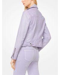 Michael Kors - Purple Crinkled Leather Biker Jacket - Lyst