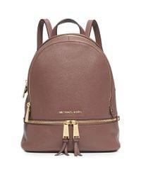 Michael Kors Brown Rhea Small Leather Backpack