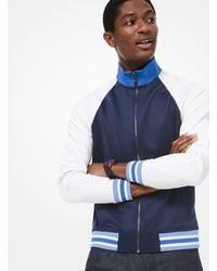 Michael Kors Blue Palm Embroidered Scuba Track Jacket for men