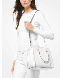 Michael Kors - White Benning Large Scalloped Leather Satchel - Lyst