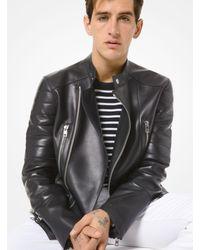 Michael Kors Black Leather Moto Jacket for men