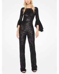 Michael Kors - Black Sequined Stretch-tulle Jumpsuit - Lyst