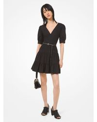 Michael Kors Black Stretch Cotton Poplin Puff-sleeve Dress