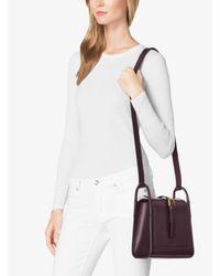 Michael Kors Purple Brackley Medium Leather Pocket Crossbody