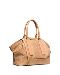 Michael Kors - Brown Lexi Large Sueded Snakeskin Satchel - Lyst
