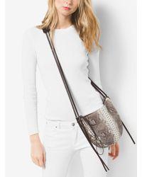 Michael Kors - Black Sedona Medium Python Shoulder Bag - Lyst