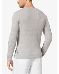 Michael Kors Gray Linen And Cotton Henley for men