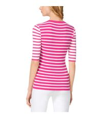 Michael Kors - Pink Striped Stretch-jersey Henley - Lyst