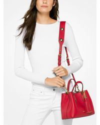 Michael Kors Red Brooklyn Small Leather Satchel
