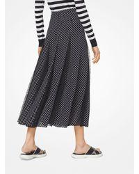 Michael Kors Black Polka Dot Silk-georgette And Lace Skirt
