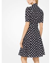Michael Kors Black Coin Dot Crushed Georgette Tie-neck Dress