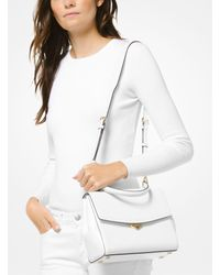 Michael Kors White Ava Medium Leather Satchel