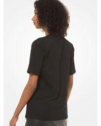 T-shirt à logo en jersey de coton travaillé Michael Kors en coloris Black
