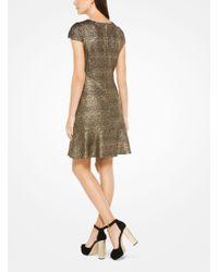 Michael Kors - Metallic Foil Print Dress - Lyst