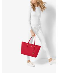 Michael Kors Red Jet Set Travel Large Saffiano Leather Top-zip Tote