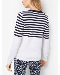 Michael Kors Blue Color-block Striped Cotton Sweater
