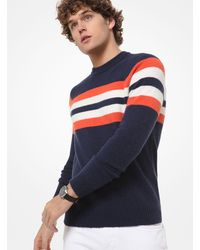 Pullover A Righe Con Collo A Lupetto di Michael Kors in Blue da Uomo