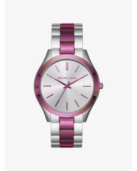 Michael Kors Metallic Slim Runway Silver-tone Watch