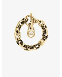 Michael Kors - Metallic Logo Chain-link Gold-tone And Tortoise Acetate Bracelet - Lyst