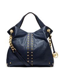 Michael Kors Blue Astor Leather Shoulder Bag