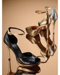 Michael Kors - Tiegan Metallic Embossed Leather Sandal - Lyst