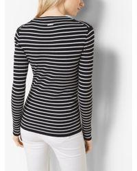 Michael Kors Black Stretch-viscose Striped Ribbed Sweater