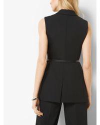 Michael Kors Black Stretch-twill Belted Vest