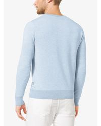Michael Kors Blue Cotton V-neck Sweater for men