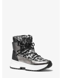 Michael Kors Gray Cassia Cheetah-print Nylon And Mirror-metallic Boot
