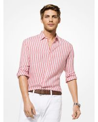 Michael Kors Multicolor Slim-fit Striped Linen Shirt for men
