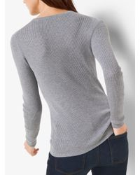 Michael Kors - Gray Ribbed Crewneck Sweater - Lyst