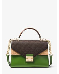 Borsa a mano Sloan media in pelle con logo di Michael Kors in Green