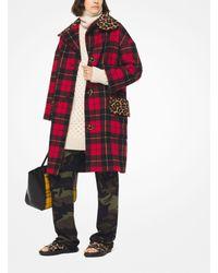 Michael Kors - Red Tartan Wool-melton And Leopard Coat - Lyst