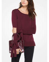 Michael Kors Purple Stretch-viscose Tie-cuff Sweater