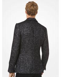 Michael Kors Blazer aus Wollmischgewebe mit Fischgrätmuster in Metallic-Optik in Black für Herren