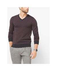 Michael Kors | Multicolor Diamond-print Merino Wool V-neck Sweater for Men | Lyst