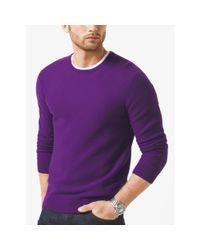 Michael Kors | Purple Wool-blend Crewneck Sweater for Men | Lyst