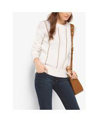 Michael Kors   Natural Chain-trim Merino Wool And Cashmere Sweater   Lyst
