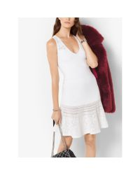 Michael Kors | White Knitted Fit-and-flare Dress | Lyst